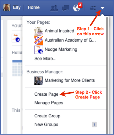 How to create a Facebook Page Step 1