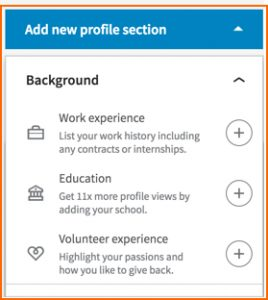 LinkedIn New profile sections