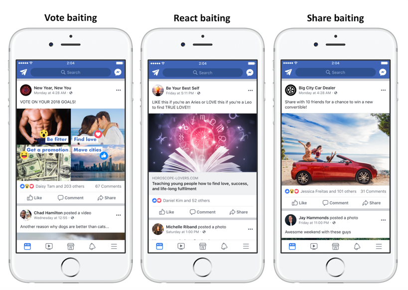 Facebook React Share Vote Engagement Baiting