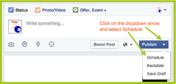 Where is the Facebook Schedule Option