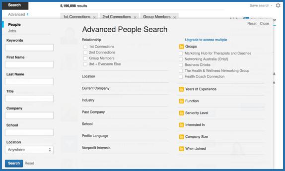 LinkedIn search options