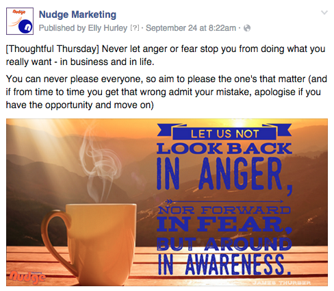 Facebook theme day post example