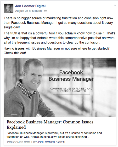 Facebook post example of sharing content